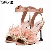 Gladiator satin sandals women thin high heels hairy feather crystal embellished 2018 rhinestone beach shoes sandalia feminina