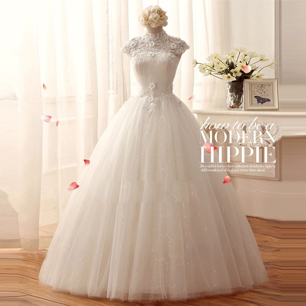 Princess lace wedding dress 2016 new style high cap sleeve for Princess plus size wedding dresses