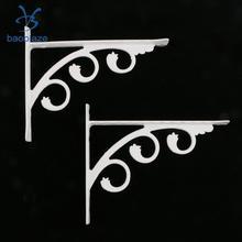 Комплект из 2 предметов, белый l-образный кронштейн полки настенные Ванная комната Кухня полки Алюминий держатель с выбитой вышивкой искусства для товары для дома