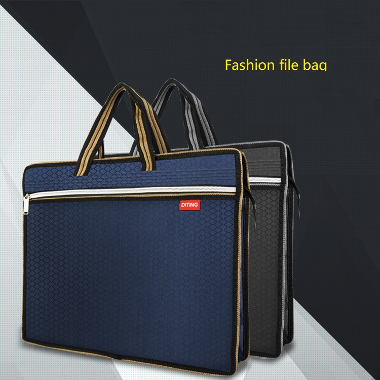 Portable A4 File Bag Zipper Multi-layer Business Men Women Handbag Briefcase Canvas Office Conference Bag Increase Size