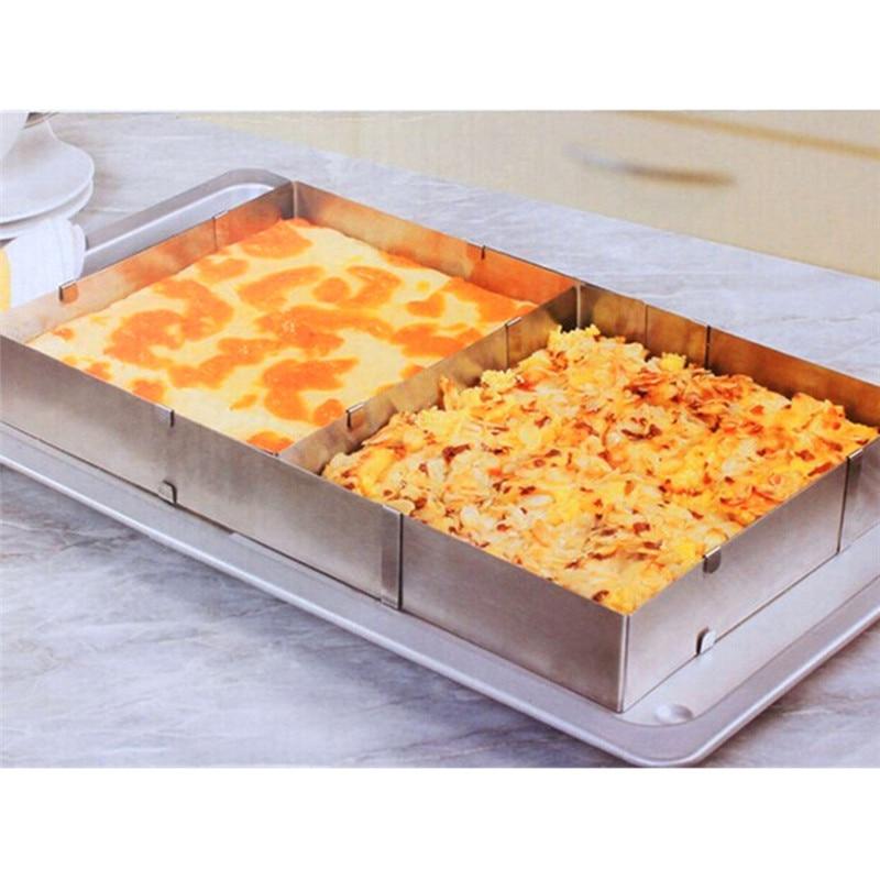 Einstellbare Kuchenform Rechteck Edelstahl Antihaft Backen Kuchen Ei - Küche, Essen und Bar - Foto 1
