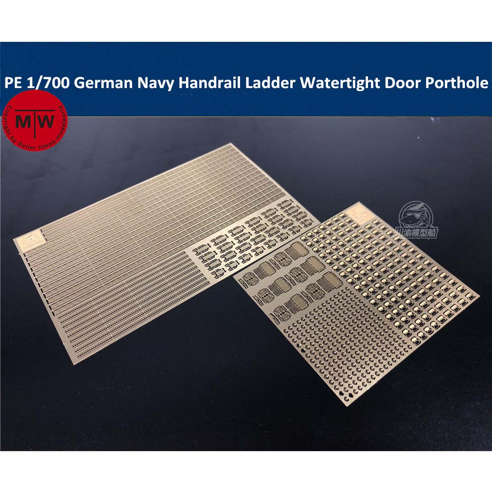 Photo-Etched PE Handrail Ladder Watertight Door Porthole Radar for <font><b>1</b></font>/<font><b>700</b></font> <font><b>Scale</b></font> WWII German Navy <font><b>Ship</b></font> <font><b>Model</b></font> Kit image