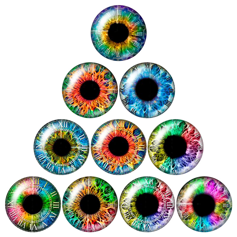 16mm 10 Pairs 16mm Glow in the Dark Glass Round Pupil Eyes Zombie Eyes Round Dome Glass Cabochons Flatback for DIY Craft Clay Eyes
