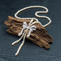 Cmajor Esterlina-prata-jóias micro cubic zircon bow pérola natural jóias colar longo parágrafo camisola colar para as mulheres