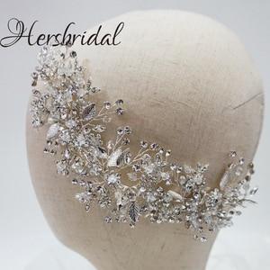 Image 2 - High Quality Crystal Bridal Hair Comb Handmade Rhinestone Wedding Headpiece Hair Jewelry Brides 2019