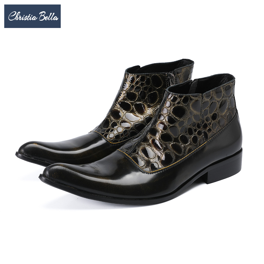 Christia Bella British Genuine Leather Pointed Toe Men Boots Winter Ankle Boots Fashion Cowboy Short Boots Men Italian Shoes free shipping autumn winter genuine leather men s work ankle boots martin boots british style western cowboy boots for men botas