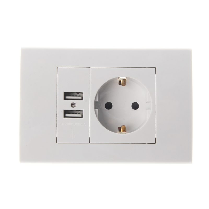 Wall Power Socket Plug 16A EU Standard Electrical Outlet 1000mA Dual USB Charger Port цены