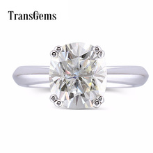 Transgems 2 Carats ct 7X8mm Cushion Cut Moissanite Engagement Ring for Women Platinum Plated Silver