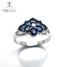 Женское кольцо с цветком tbj элегантное 100% натуральным голубым