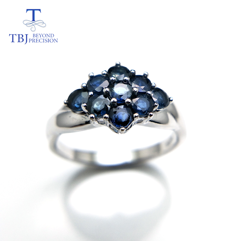 TBJ,Elegant Flower Ring With 100% Natural Blue Sapphire Gemstone In 925 Sterling Silver,gemstone For Women As Christmas Gift