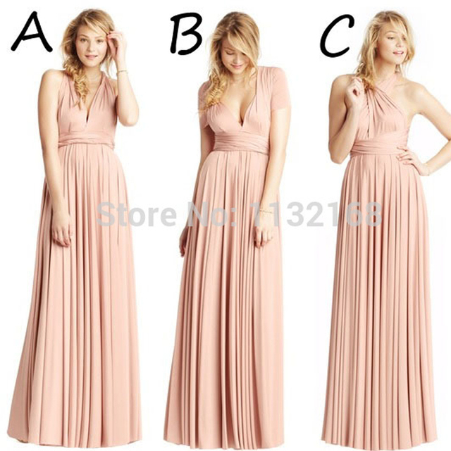 Inexpensive Deep V Neck Tank Halter Floor Length Blush Long Bridesmaid Dresses Under 100 Style