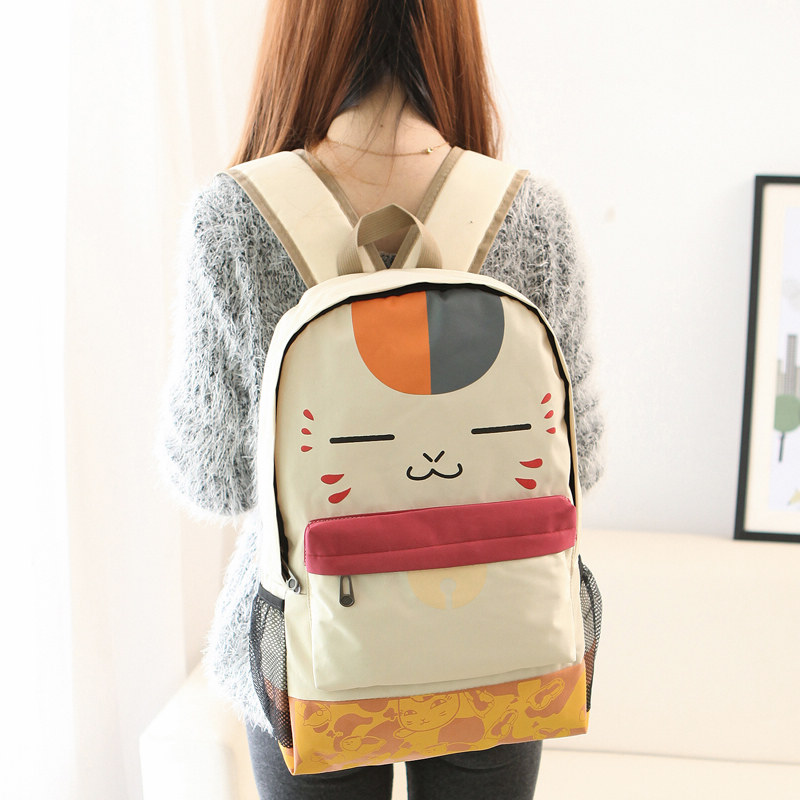 Japanese Girl Cute Face Print Pu Schoolbag Beige Plush Cat Canvas Backpack Women Student School Leisure Cartoon Book Laptop Bag ajalt japanese for young people i student book