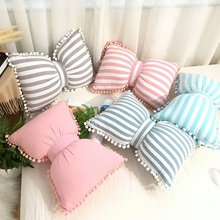 Nordic Cute Bow-knot Kids Cushion Removable/Washable Plaid/Striped Children Room Decoration Pillow Cushions With PomPom Ball