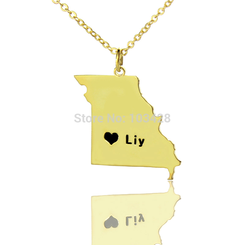 usa state charm necklace gold color personalized missouri