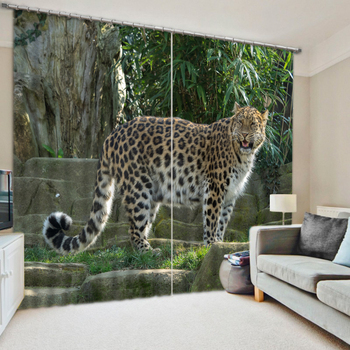 3D Leopard In The Zoo Bedding Room Living Room Window Curtains