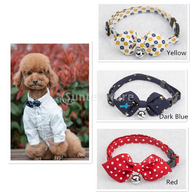 Pet Dog Cat Tie Collar with Yellow font b Tartan b font Design Pointed Bowknot Bell