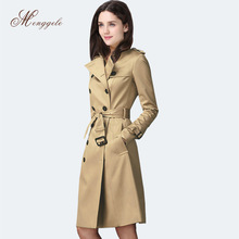 European and United States elegant double breasted turn down collar trench coat women slim long overcoat with a belt