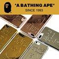 Japón marca bape 3d hombre mono de oro case para iphone 7 7 más 6 6 S 6 Plus A Bathing Ape Pithecanthropus Cajas Del Teléfono Scrub Fundas