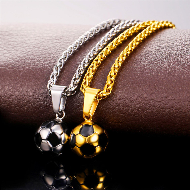 Stylish Stainless Steel Necklace with Football Shaped Pendant