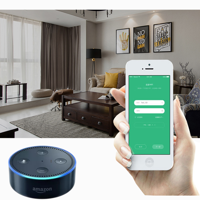 working Alexa WIFI APP control silent quality S track automatic curtain track 433MHZ smart home motorized