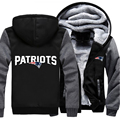 USA size Patriots Football Team Men Women Thicken Fleece Zipper Hoodie Jacket Clothing Casual Coat
