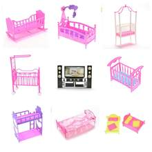 Dollhouse Furniture Bed Bedroom Furniture For For Dolls Girl Birthday Gift Double Bed Cradle Pillow Dolls Accessories Plastic(China)