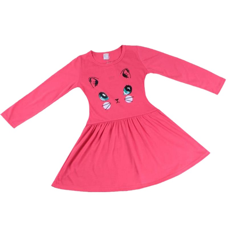 2018 Princess Girls Dress Cartoon Cat Printed Cotton Baby Girl Long Sleeve Dress Party Mini Dresses New