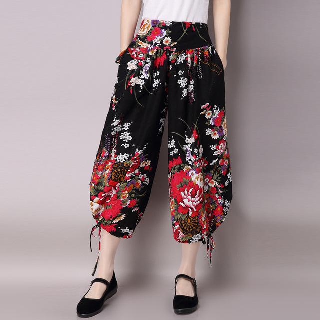 Mulheres Nova Moda de Algodão de Linho Impresso Harem Pants Casuais Femininas calças Bezerro de Cintura Alta Soltas Calças de Comprimento Primavera Verão