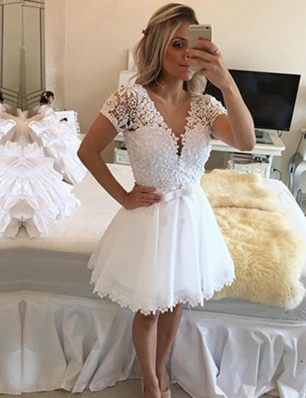 Elegant V-Neck Short Sleeve Short   Cocktail     Dresses   2019 Arrival Knee-Length Lace Appliques   Cocktail     Dresses