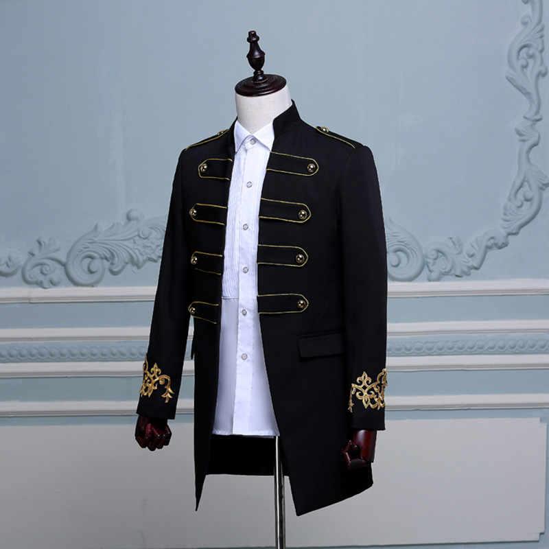 Chaqueta larga negra y blanca con bordado azul para hombre, abrigo para novio, ropa de boda, baile de graduación, baile, Bar, Club, disfraces de escenario