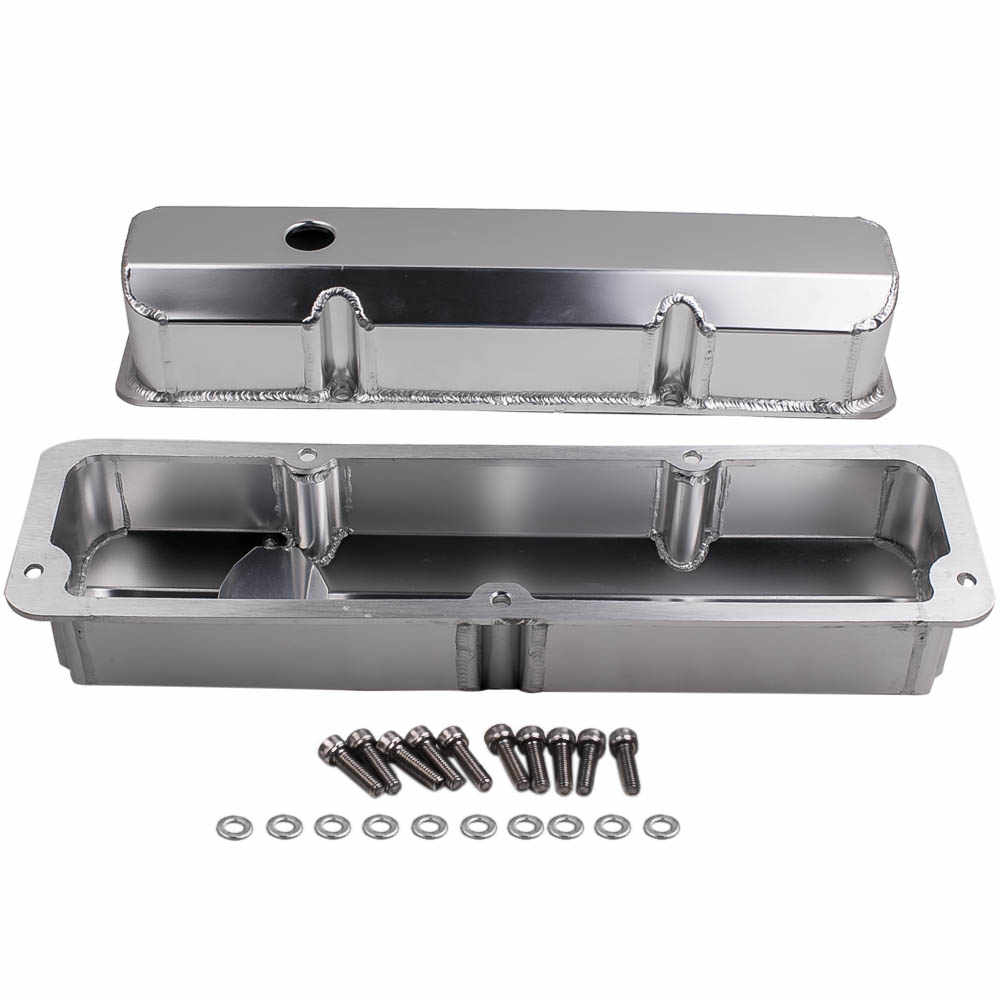 "Brushed Finish Aluminum Engines Valve Covers 3 7/8"" Height for 1958-1976 Ford FE BBF 332 352 360 390 406 413 427 428 w/ Bolt"