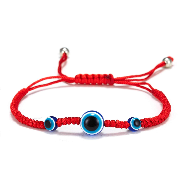 5 Style tressé à la main chanceux rouge chaîne Bracelet à breloques femmes hommes bleu mauvais œil perles rondes Bracelet mode amitié bijoux