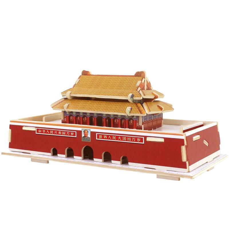 3D 나무 퍼즐 입방 나무 퍼즐 세계의 빌딩 블록 건설 아이 교육 장난감 베이징 TianAn 남자 중국 여행