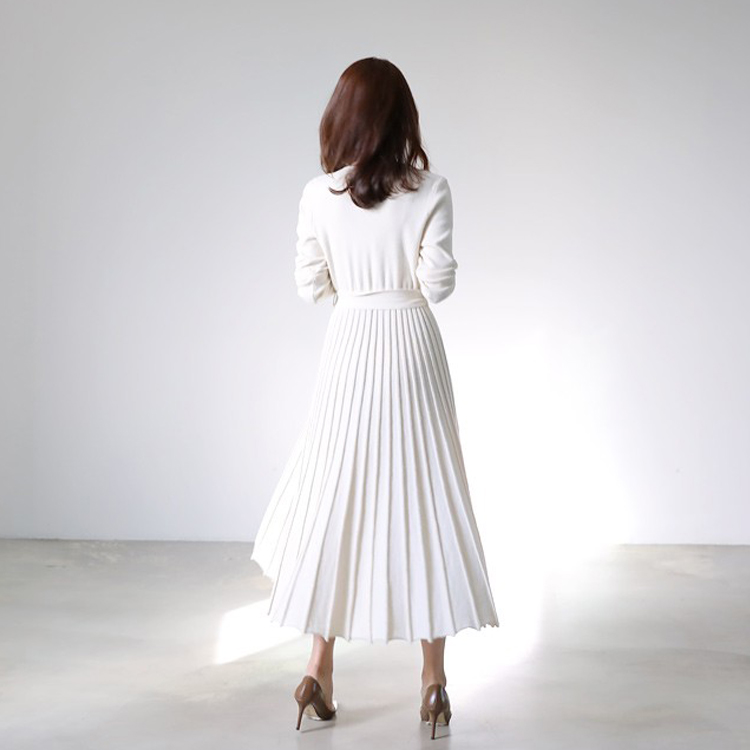 HAMALIEL New Fashion Women Knitted Pleated Dress Fall Winter Long Sleeve Thick Sweater Dress Casual Sexy V Neck Sashes Dress 41