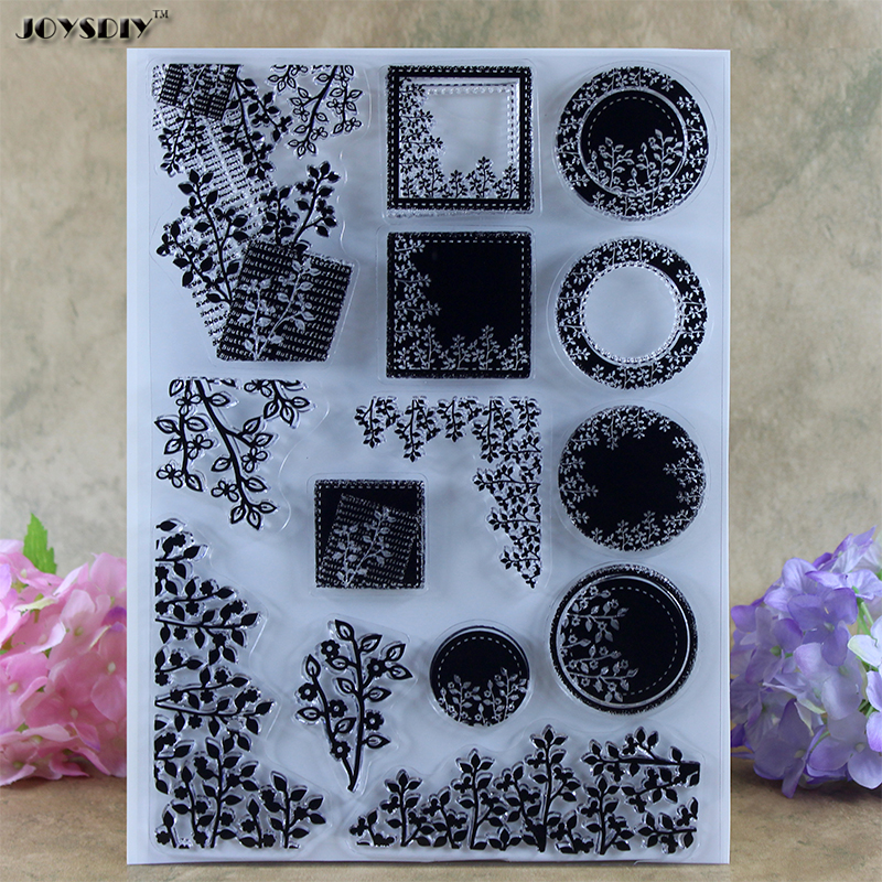 Cute Leaves Frame Background Scrapbook DIY photo cards account rubber stamp clear stamp transparent stamp Stamper 21.5*15.5CM spider texture background scrapbook diy photo cards account rubber stamp clear stamp transparent stamp handmade card stamp