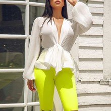 Summer Elegant Women Pleated Chiffon Blouses Sexy Deep V Neck Lantern Sleeve Shirts Casual Puff Sleeve Front Bow Tie Up Blusas недорого
