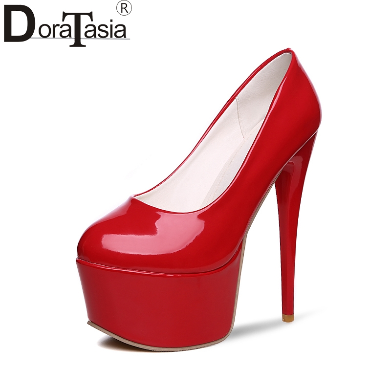 DoraTasia large size 31-48 top quality platform red pumps women shoes sexy 16 cm super thin high heels party wedding shoes woman romyed bridals wedding shoes kim kardashian pumps superstar shoes top quality flowers evening christian shoes size 4 16 shofoo