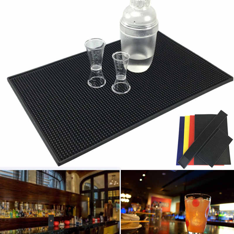 Non-slip Rubber Bar Mat Bar Runner Glass Drip Tray Beer Drink Rail Bars Service Mat TN88