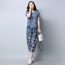 2pcs Womens Ladies Floral Cotton Linen Short Sleeves Tops Calf-Length Pants Indie Folk Set