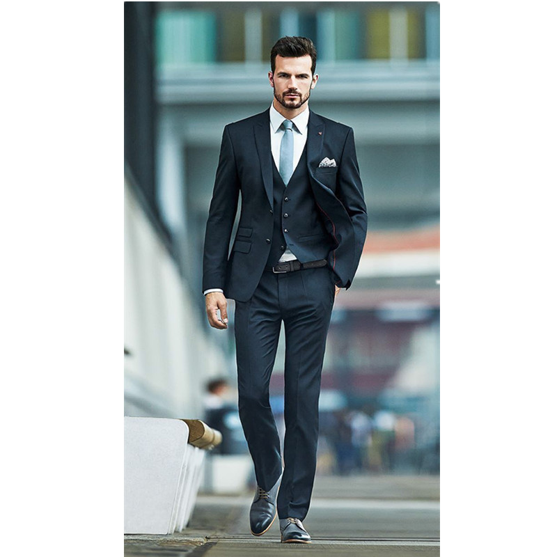 Classic high quality men's suit green lapel single breasted groom wedding dress and men's business suit (jacket + pants + vest)