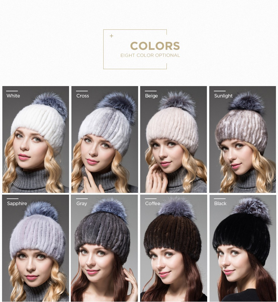 mink fur winter hats for women PCM010 (4)