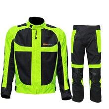 Rijden stam zomer/winter moto rcycle ademend mesh moto beschermende Jas heren Reflecterende Racing moto jassen Jersey broek