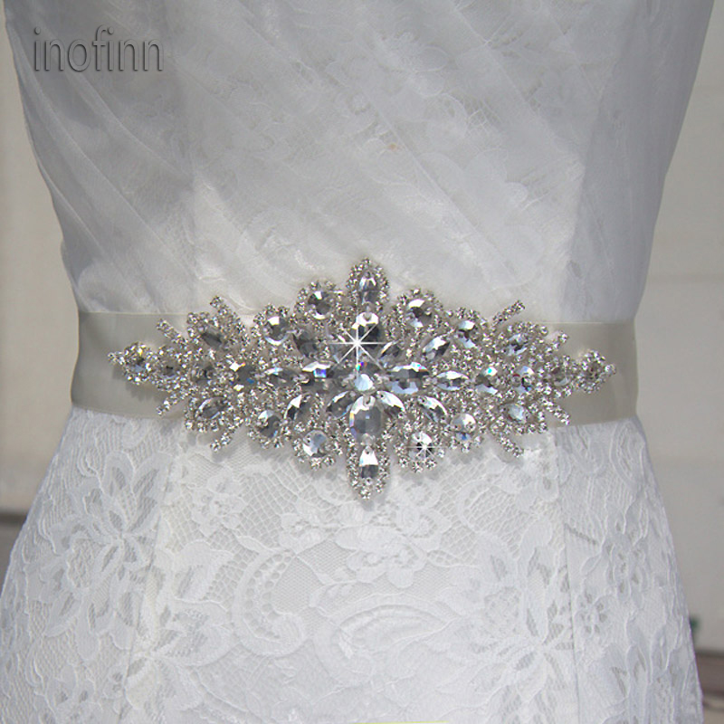 Inofinn 55# Crystal Rhinestones Evening Party Gown Dresses Accessories Wedding Belts Sashes,Bride Waistband Bridal Sashes Belts