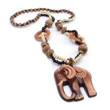 Hand Carved African Grassland Winds Wild style Elephant Woody Beaded pendant necklace Women Fashion Jewelry Birthday Present