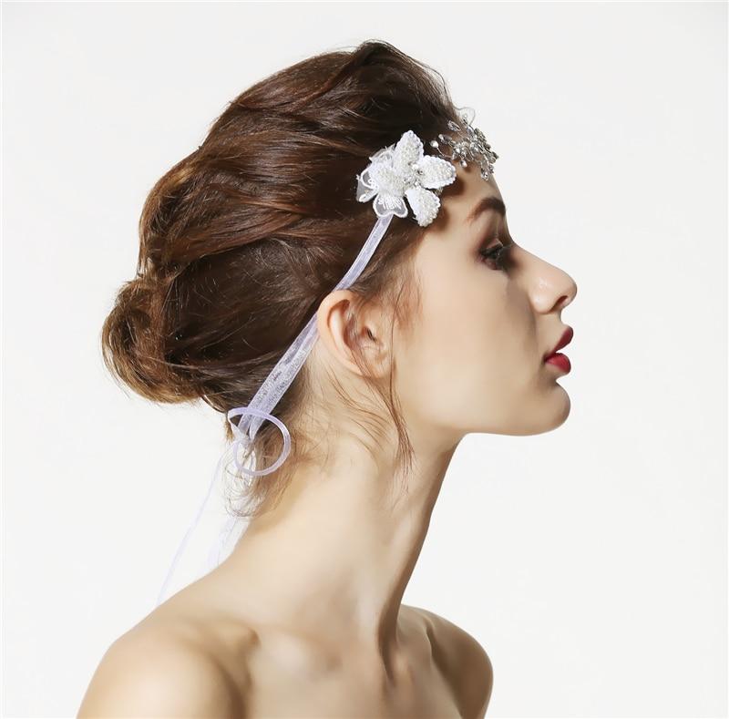 Flower Tiara Headband Wedding Pearl Jewelry Hair Accessories Bridal Headpiece Bandeau Cheveux Femme Bijoux De Tete WIGO0822