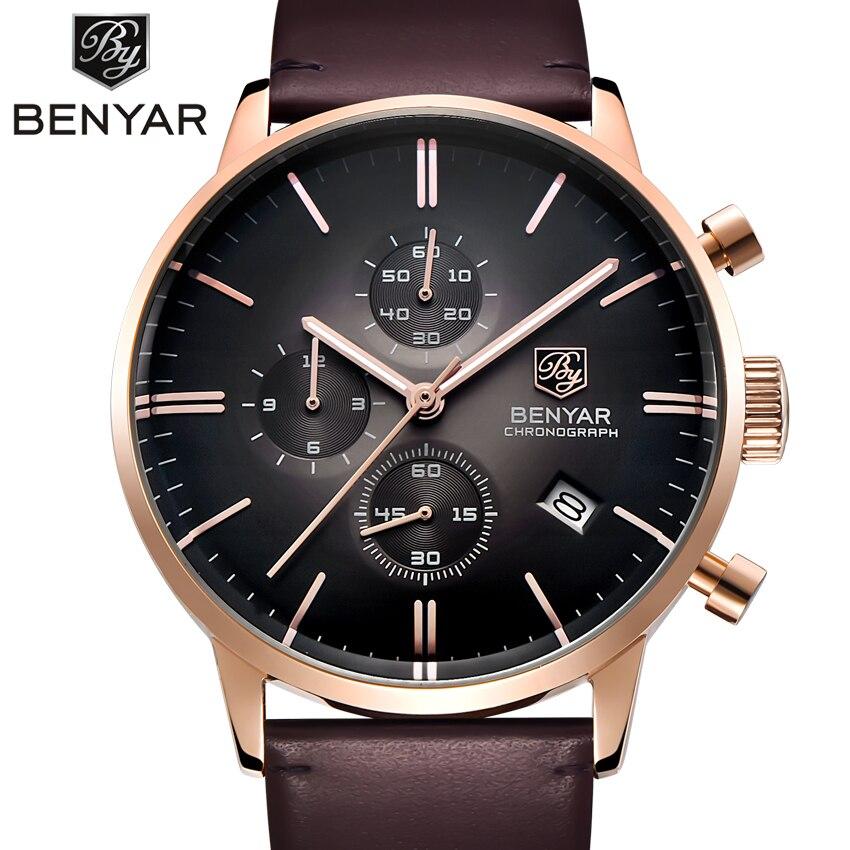 Relogio Masculino BENYAR хронограф для мужчин Военная униформа для мужчин s кварцевые часы лучший бренд класса люкс для мужчин часы спортивные наручны....