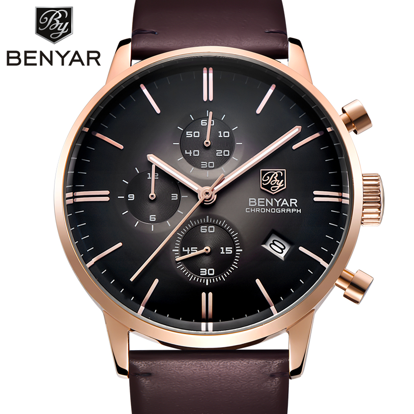 Relogio Masculino BENYAR Chronograph Watch Men Military Mens Quartz Watch Top Brand Luxury Men's Clock Sports Wrist Watch Male benyar luxury top brand men watches sports military army quartz wrist watch male chronograph clock relogio masculino gift box