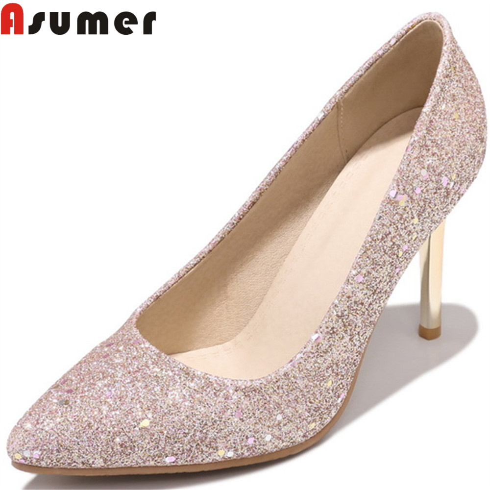 ASUMER plus size 33-46 fashion spring autumn pumps shoes woman pointed toe elegant wedding shoes women high heels shoes