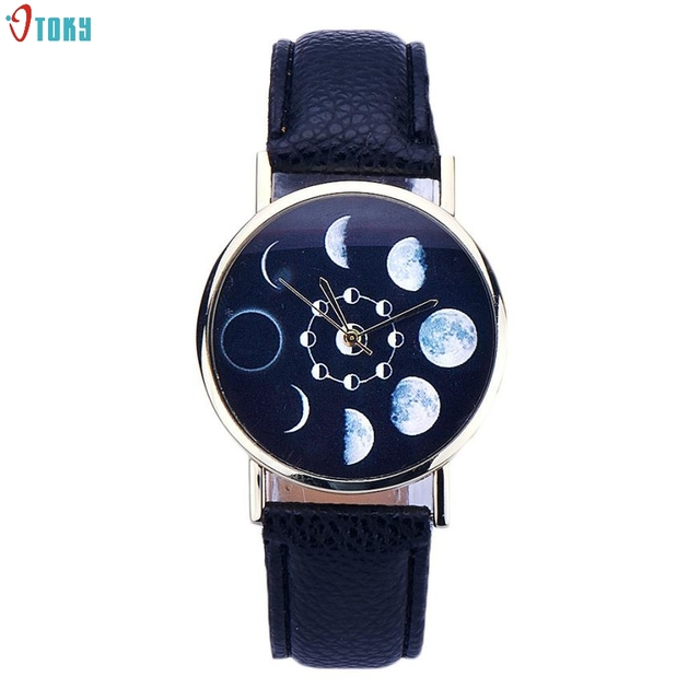Relojes Mujer 2017 Dignity Women Watches Clock Lunar Eclipse Pattern Leather Ana