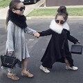 Moda Bebê Menina Solta de Manga Comprida Vestido Em Camadas Menina Cheia Vestido Sólida Para Crianças Meninas 2 Anos de Aniversário Traje
